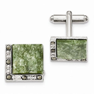 1928 Collection Silver-tone Green Jade & Marcasite Cuff Links