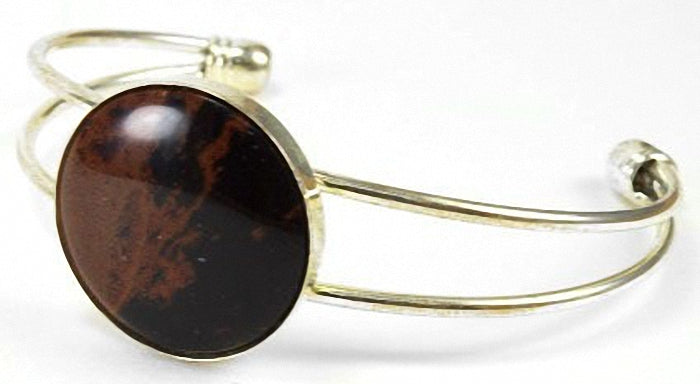 Mahogany Obsidian and Gold-plated brass Cuff bracelet