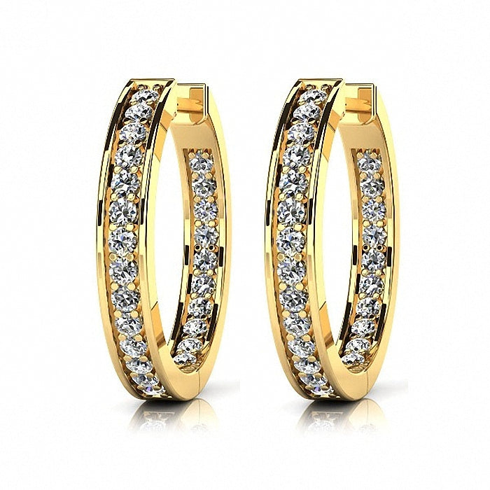 Fine Diamond Hoop Earrings 14k Yellow Gold
