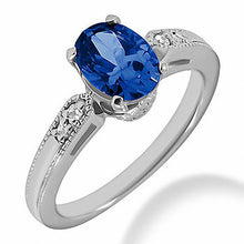 Load image into Gallery viewer, Blue Sapphire & Diamond Engagement Ring