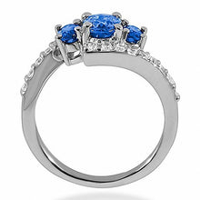 Load image into Gallery viewer, 3-Stone Blue Sapphire & Diamond Fashion Cocktail Ring