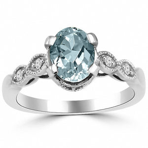 Antique-Style Blue Aquamarine & Diamond Engagement Ring