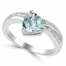 Load image into Gallery viewer, Trillion-Cut Aquamarine & Diamond Gold Ring