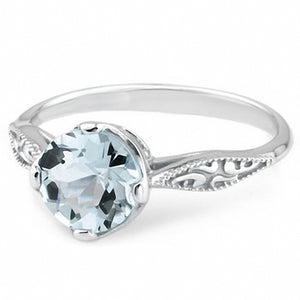 Blue Aquamarine Engagement Solitaire Vintage-Style Ring