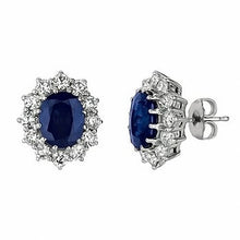 Load image into Gallery viewer, 7.03ct Oval Blue Sapphire & Diamond Halo Stud Earrings 14k Gold