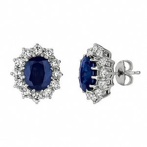 7.03ct Oval Blue Sapphire & Diamond Halo Stud Earrings 14k Gold