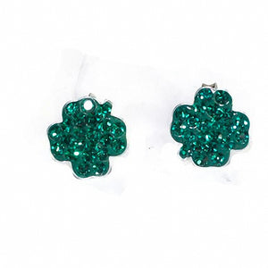 Perfect for St. Patrick's Day Children's Silver & Green Crystal Shamrock Earrings