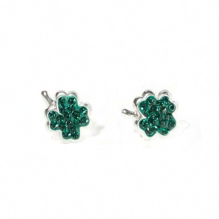 St. Patrick's Day Swarovski Crystal & Silver plated Shamrock Earrings