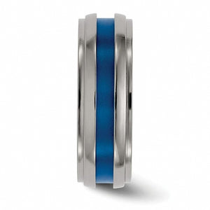 Titanium Grooved Blue Anodized 7.5mm Band