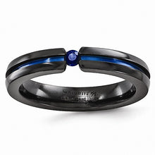 Load image into Gallery viewer, Black Ti Sapphire & Blue Anodized 4mm Band