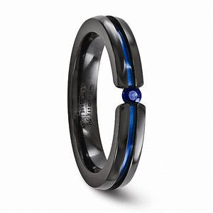 Black Ti Sapphire & Blue Anodized 4mm Band