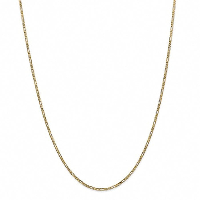 14k Yellow Gold 1.80mm Flat Figaro Chain Necklace