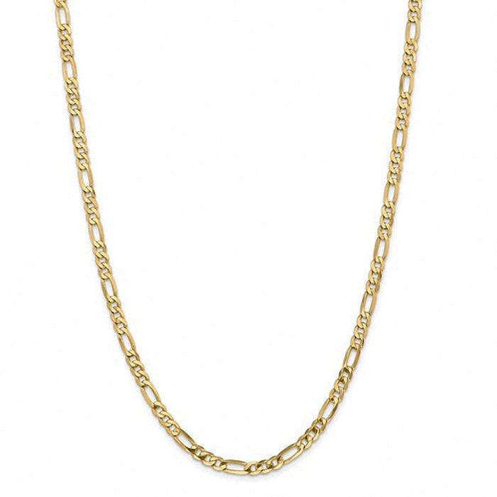 14k 4.75mm Flat Figaro Chain Necklace