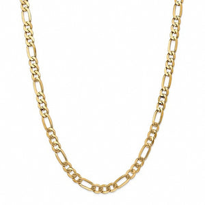 "14k Yellow Gold 7mm - 24""  Flat Figaro Chain Necklace"