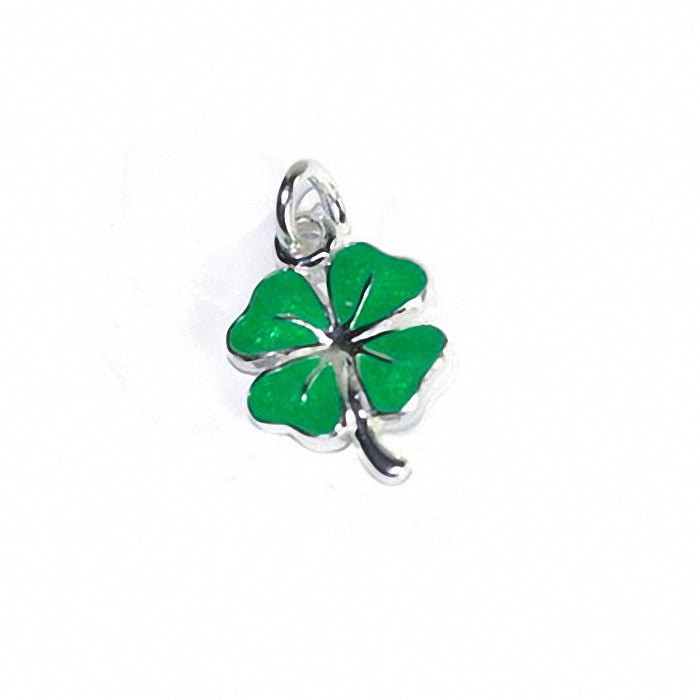 Emerald Green Enameled, Silver plated  Shamrock Pendant