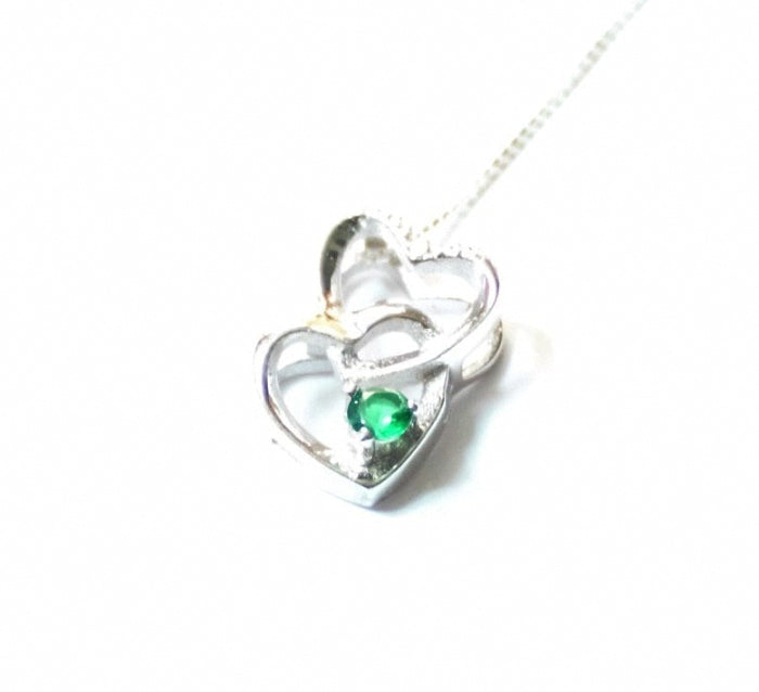 Lovely 0.105 ctw. Synthetic Emerald Necklace with Diamond Accents