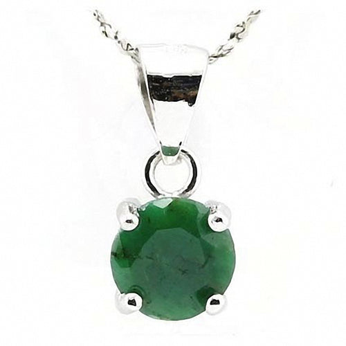 Smashing 1.40 ct. Emerald Colored Dyed Beryl in Platinum plated Sterling Silver Setting
