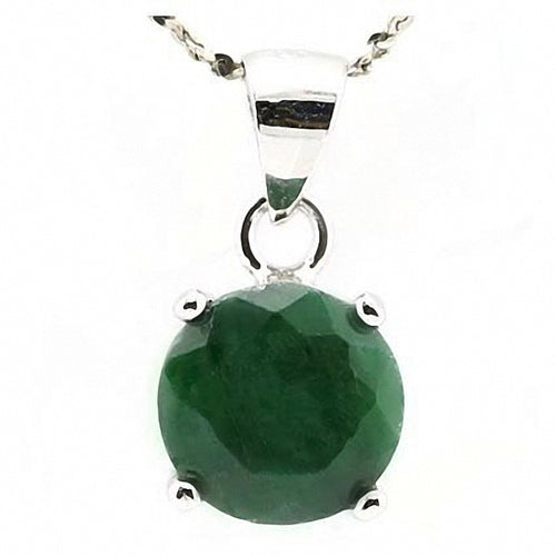 Stunning Pendant 3.50 ctw Emerald Colored Dyed Beryl in a Platinum plated Sterling Silver Setting.
