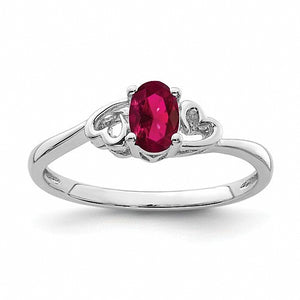 Sterling Silver Ring with Oval-cut Lab Created Ruby