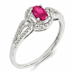 Beautiful Sterling Silver Lab Created Ruby & Diamond Ring