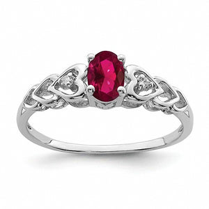 Sterling Silver Heart Accent Lab Created Ruby & Diamond Ring