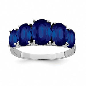 Sterling Silver Rhodium-plated Dark Sapphire Ring
