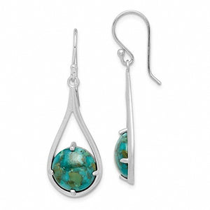 Rhodium plated Sterling Silver and Turquoise Earrings