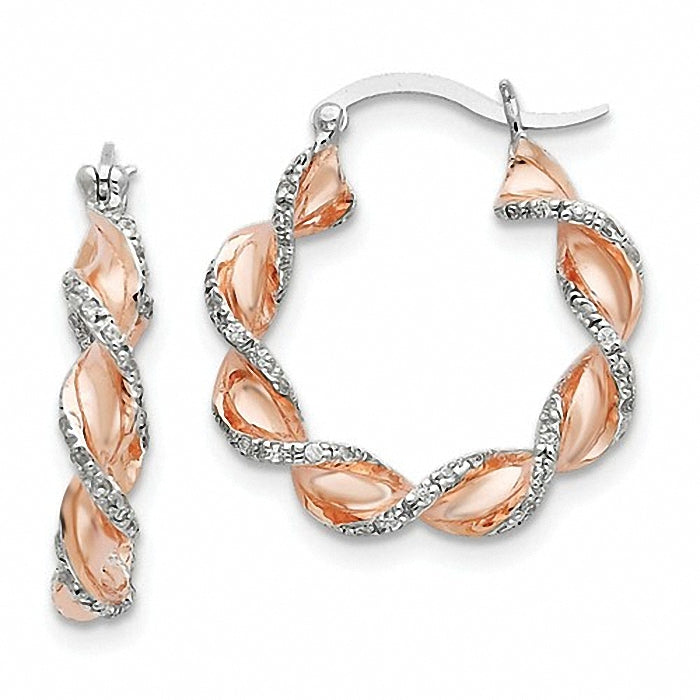 Sterling Silver & Rose Vermeil CZ Twisted Hoop Earrings