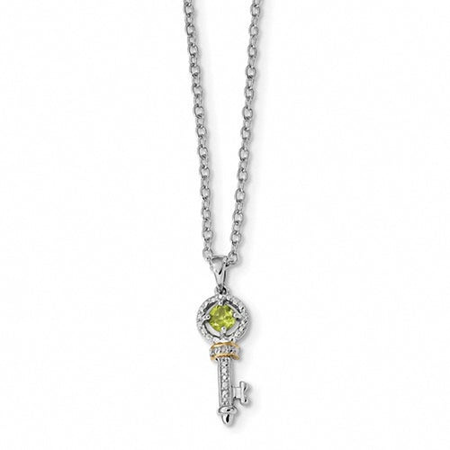 Sterling Silver & 14K Peridot and Diamond Key Necklace