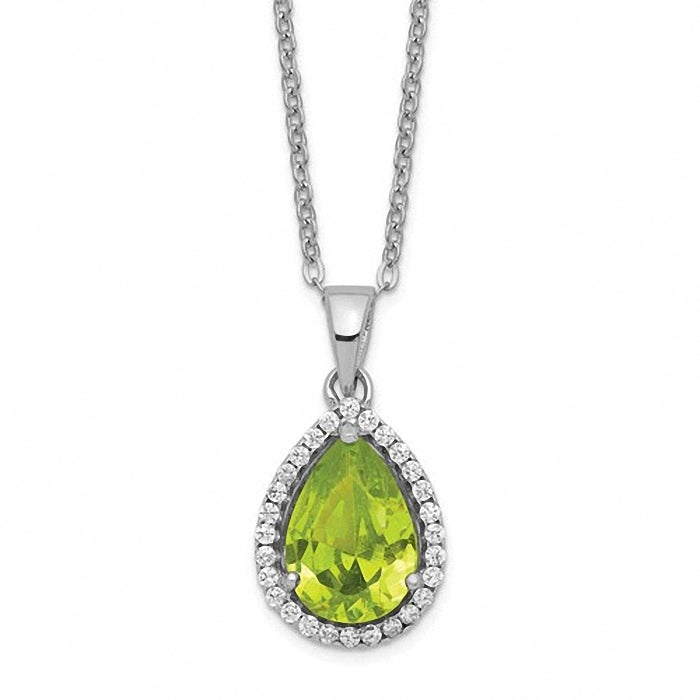 Sterling Silver Polished Simulated Peridot & CZ Necklace