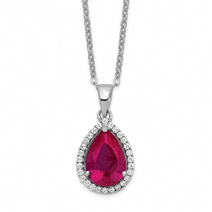 Sterling Silver Polished Lab Created Ruby & CZ Necklace