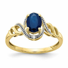 Load image into Gallery viewer, 10K Sapphire Diamond Ring