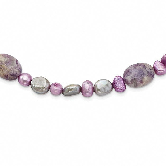 Sterling Silver Charoite, Jade & FW Cultured Pearl Necklace