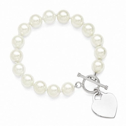 Majestik Sterling Silver  10-11mm White Shell Bead w/Eng. Heart Bracelet