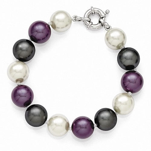 Majestik Sterling Silver  12-13mm Multi-color Color Shell Bead Bracelet