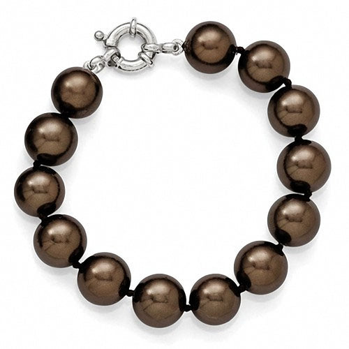 Majestik Sterling Silver  12-13mm Brown Shell Bead Bracelet