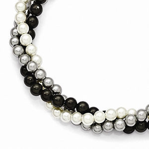 Majestik Sterling Silver  3 Row 4-5mm White/Grey/Black Shell Bead Bracelet