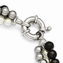 Load image into Gallery viewer, Majestik Sterling Silver  3 Row 4-5mm White/Grey/Black Shell Bead Bracelet