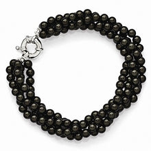 Load image into Gallery viewer, Majestik Sterling Silver  4 Row 4-5mm Black Shell Bead Twisted Bracelet