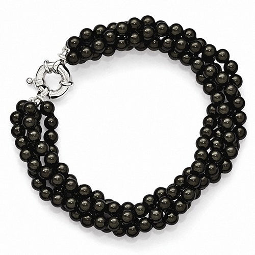 Majestik Sterling Silver  4 Row 4-5mm Black Shell Bead Twisted Bracelet
