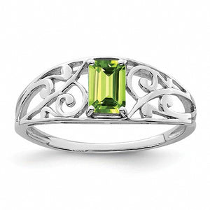 Rhodium Plated Sterling Silver  Peridot Ring