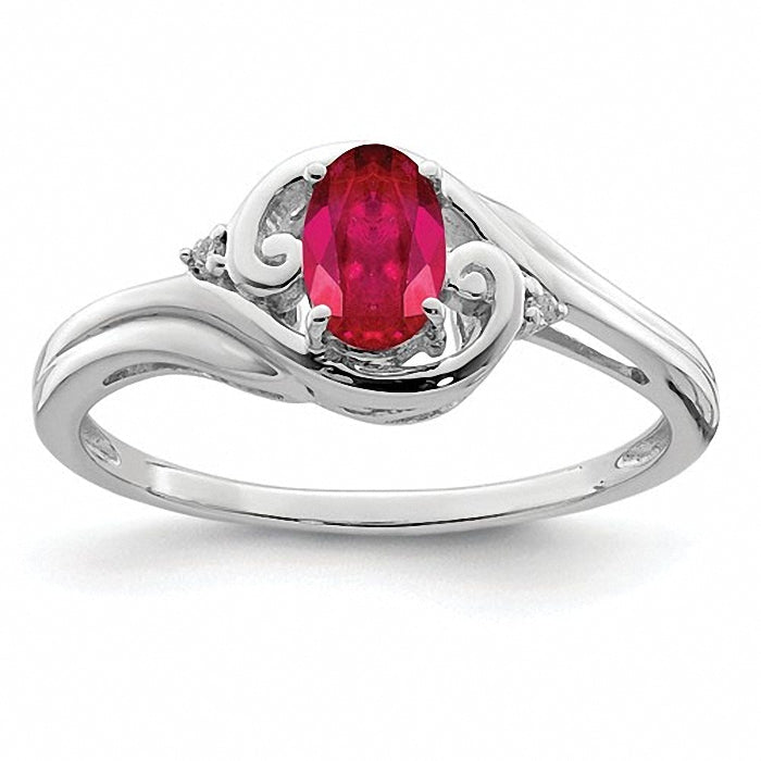 Rhodium Plated Sterling Silver  Diamond & Ruby Ring