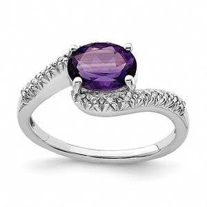 Lovely Sterling Silver Rhodium Plated Diamond and Amethyst Oval Ring
