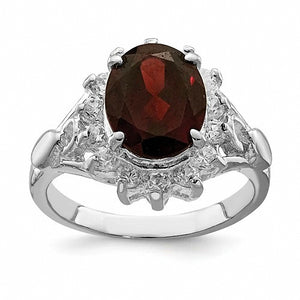 Beautiful Sterling Silver Rhodium-plated Garnet & CZ Ring
