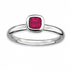 Sterling Silver Stackable Expressions Cushion Cut Lab Created Ruby Ring