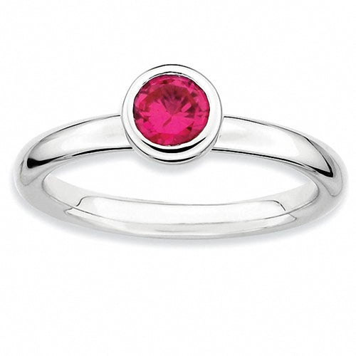 Sterling Silver Stackable Expressions Ring with Low 5mm Round Lab Created Ruby