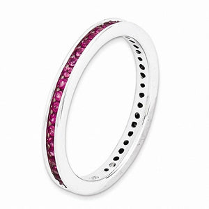 Sterling Silver Stackable Expressions Polished Lab Created Ruby Ring