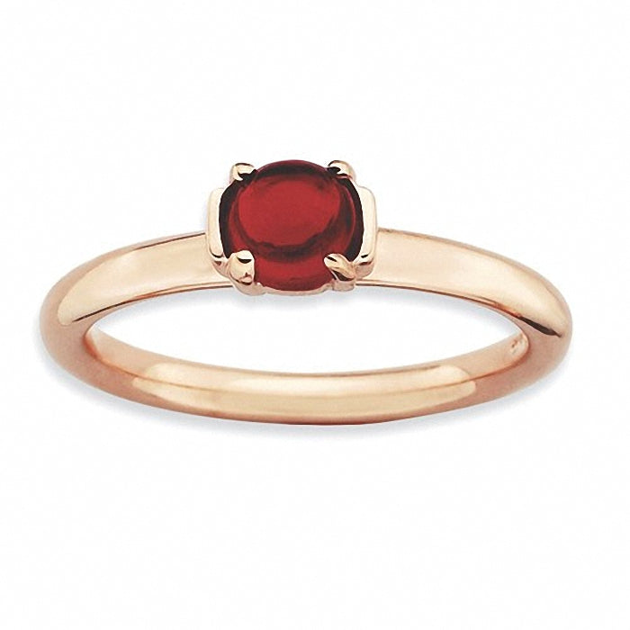 Sterling Silver Stackable Expressions Garnet Rose Gold-plated Ring