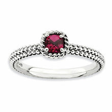Load image into Gallery viewer, Sterling Silver Stackable Expressions Checker-cut Lab Created Ruby Antiqued Ring