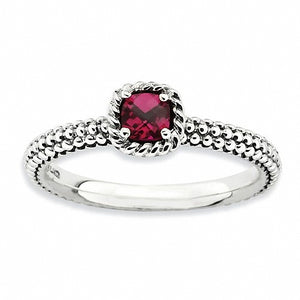 Sterling Silver Stackable Expressions Checker-cut Lab Created Ruby Antiqued Ring